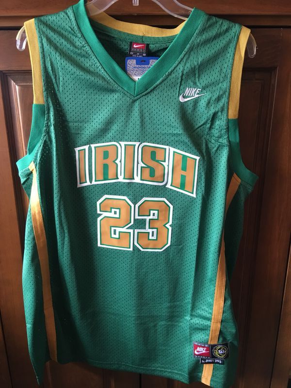 77251e51f963 Lebron James Irish High School jersey green gold M L for Sale in Miami  Springs