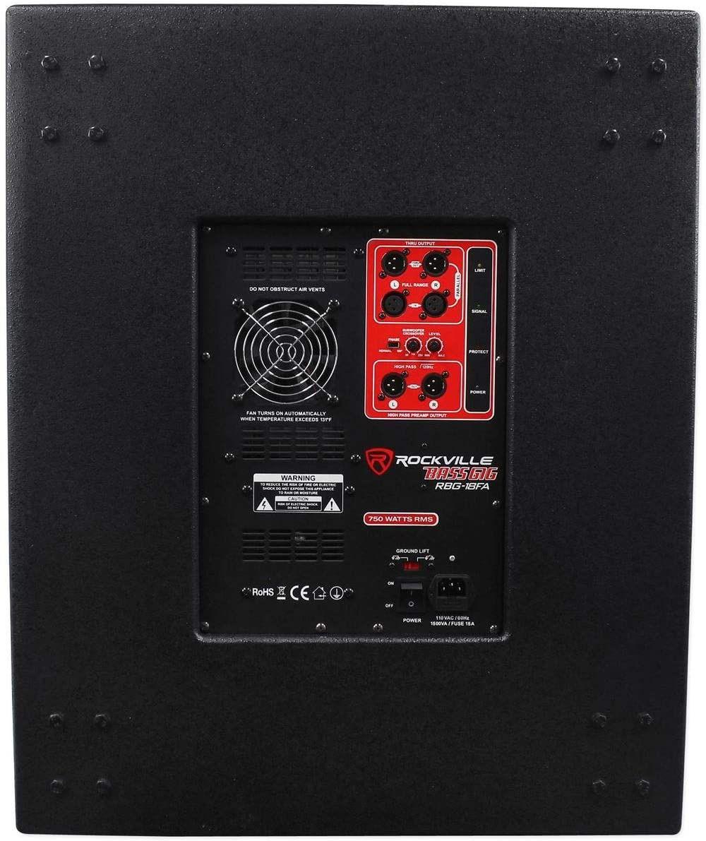 "Rockville RBG18FA 18"" 3000w Active Powered Pro Subwoofer Folded Horn PA/DJ Sub"