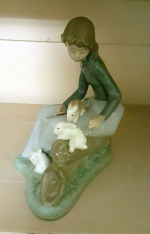 Nao Lladro Figurine , young girl with rabbits, made in Spain for Sale in Appomattox, VA