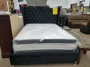Brand new in stock black velvet material queen size platform bed frame only for Sale in Takoma Park, MD