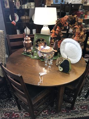 Used, Stickley Brothers Oak Table, 4 Chairs, 5 Leaves for sale  Tulsa, OK