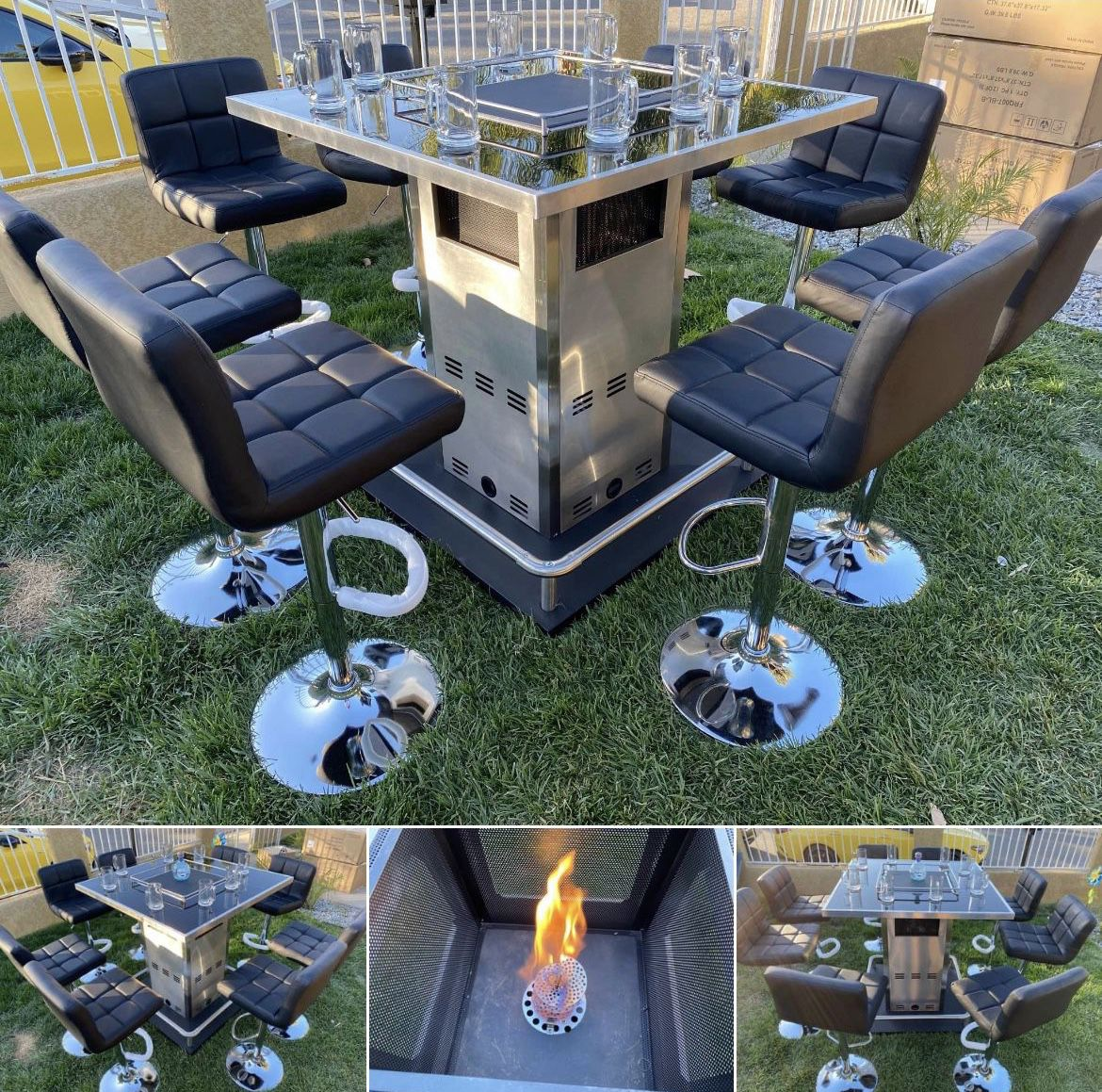 Patio Bar Come With 8 Barstools Available Propane Or Natural Gas