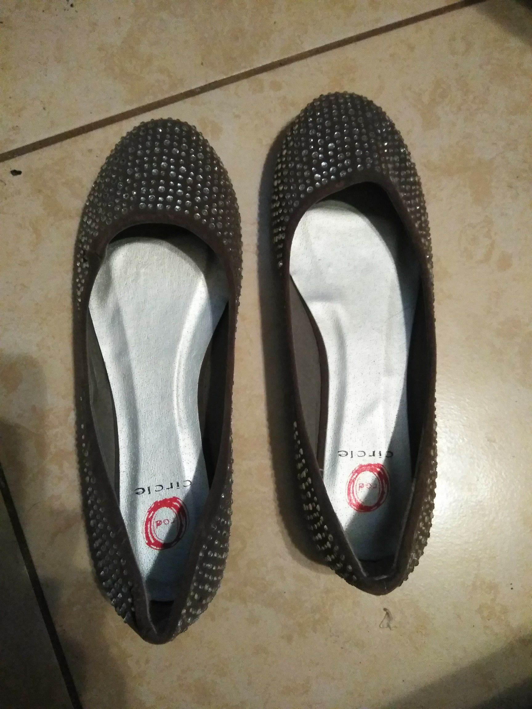 Gray Studed Flats (ladies size 9)