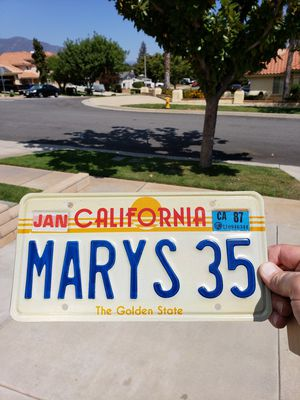 f563ef60d28073 1980 s California License Plate Personalized Marys 35 for Sale in Rancho  Cucamonga