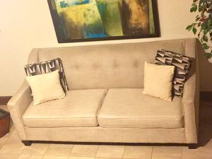 Nice Clean Beige Tufted Linen sofa (Free delivery) for Sale in Silver Spring, MD