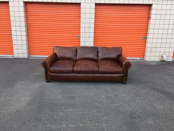 Restoration Hardware Original Lancaster Leather Sofa For Sale In