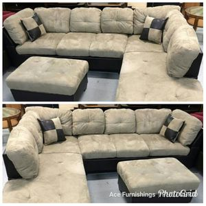 Brand New Beige Microfiber Sectional With Storage Ottoman & Tax Free for Sale in Federal Way, WA