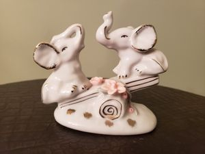 Vintage White Porcelain Elephant Figurine with Gold Trim and Raised Pink Roses for Sale in Smithtown, NY
