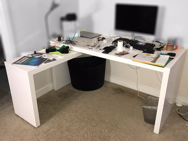 Ikea Malm Desk W Pull Out Panel In White Color Drawer