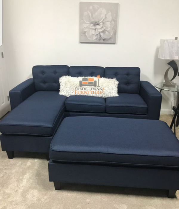 Brand New Navy Blue Linen Sectional Sofa Couch + Ottoman for Sale in  Arlington, VA - OfferUp