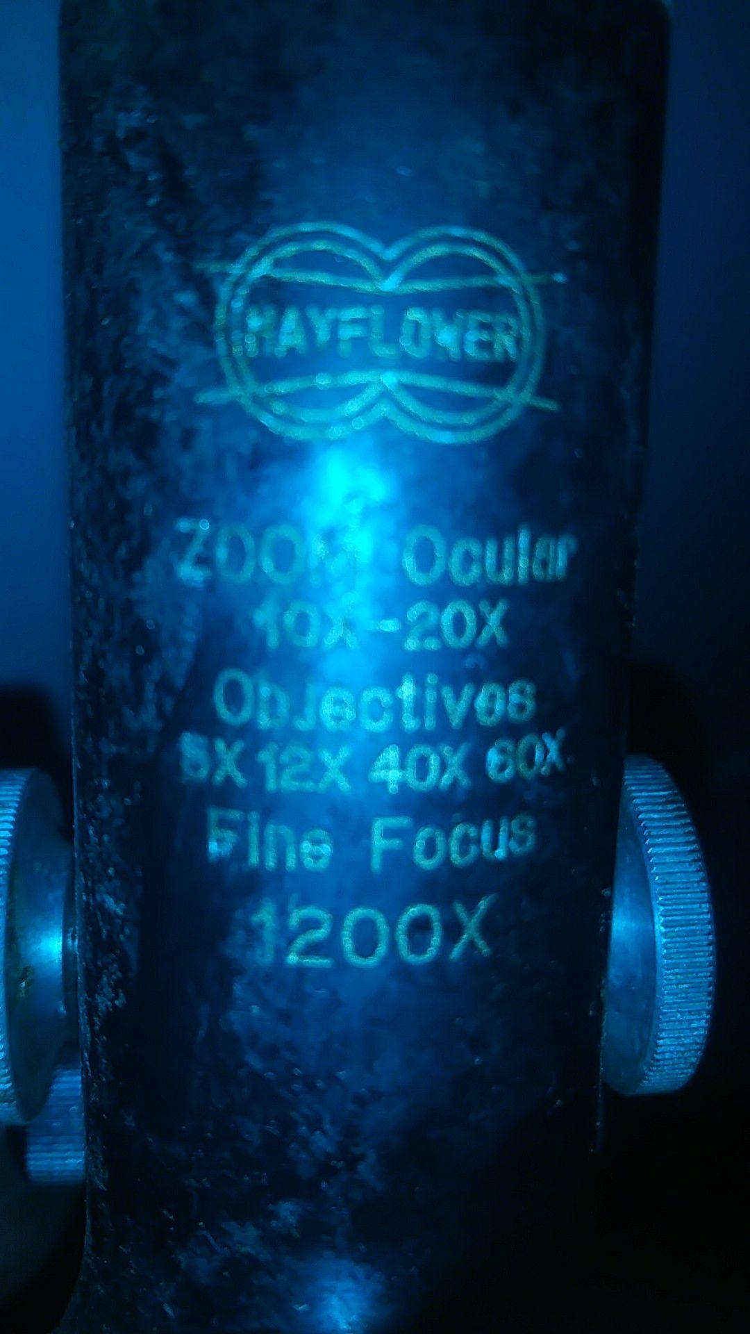 Mayflower ZOOM ocular 10x 20x OBJECTIVES 5x 12X 40X 60X Fine Focus 1200x
