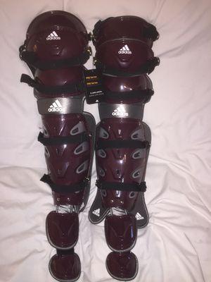 Photo Adidas Pro Series Climalite Catcher's Leg Shin Guards Marron Silver