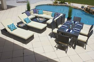 New 17 piece Outdoor Patio Furniture Sofa Set In Gray Wicker with Cushions Aluminum Frame for Sale in HALNDLE BCH, FL