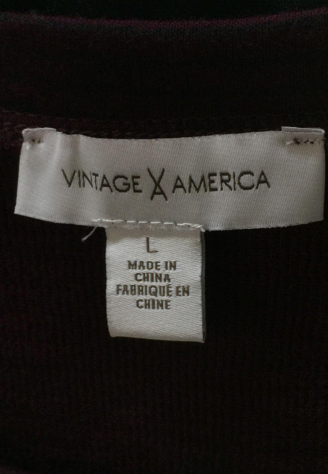 Women's Large Vintage America Burgundy w/ Black Stripes Long-Sleeve Shirt