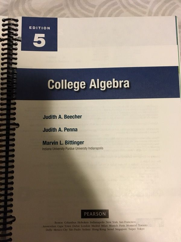 Pearsons College algebra 5th ed text book for Sale in San Marcos, CA ...