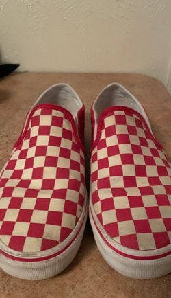 Red and white vans slip one size 8 Thumbnail