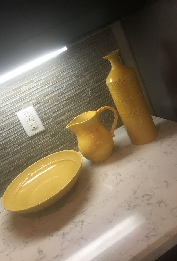 Yellow Decorative Vase Pitcher Bowl For Sale In Phoenix Az Offerup