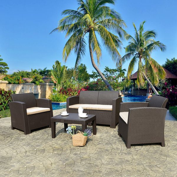 4 Pieces Patio Furniture Sets All Weather Outdoor