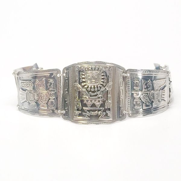 Vintage 900 Silver And Yellow Gold Tone Mayan Panel Link Bracelet 59 1 Grams Jewelry Accessories In Boca Raton Fl Offerup
