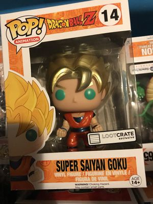 Loot crate goku dragon ball z golden hair funko pop super for Sale in Clermont, FL