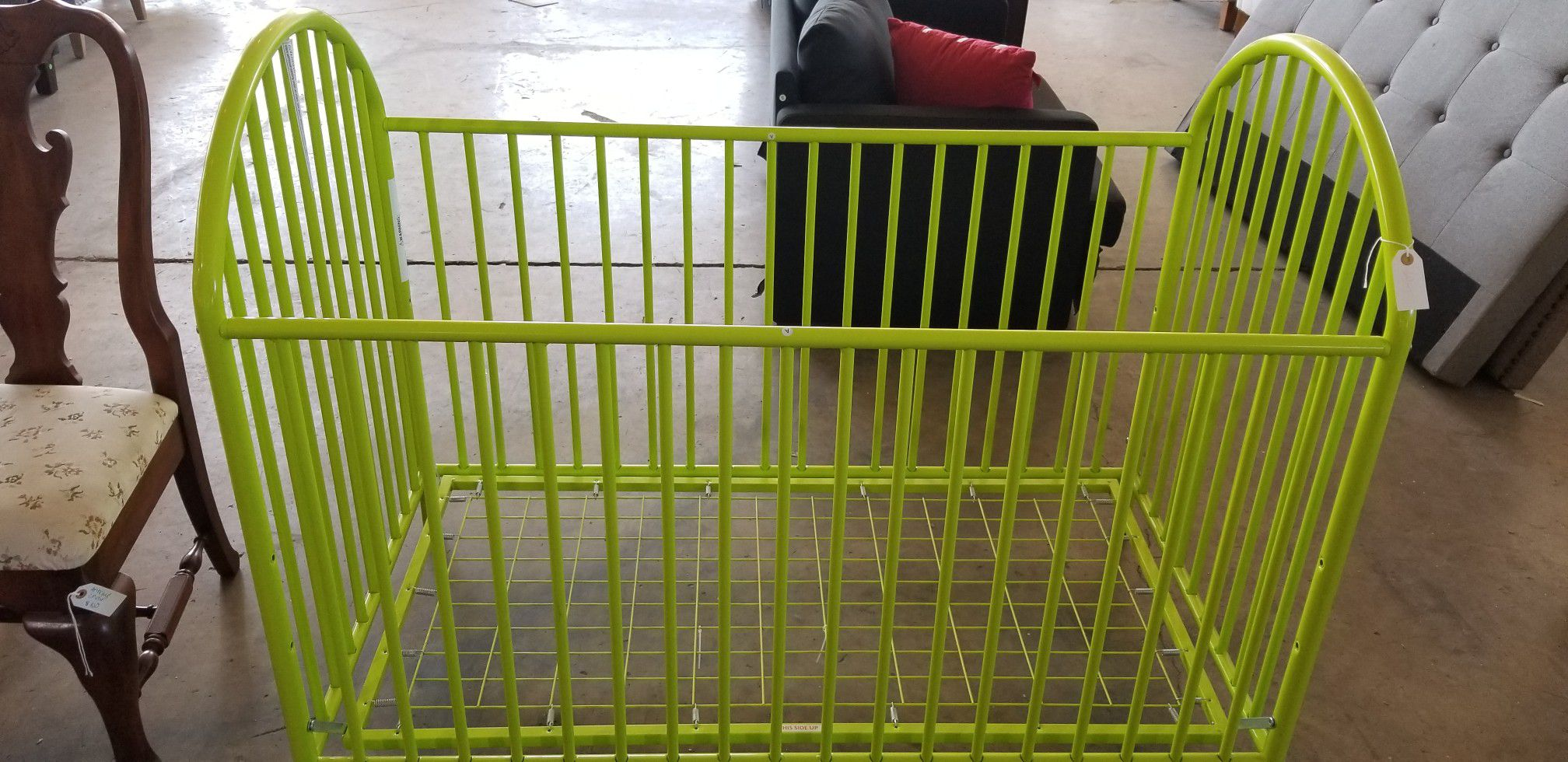 Lime green baby crib
