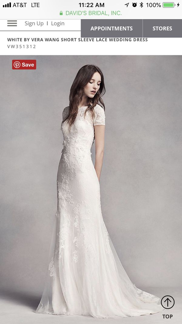 White By Vera Wang Short Sleeve Lace Wedding Dress For Sale In