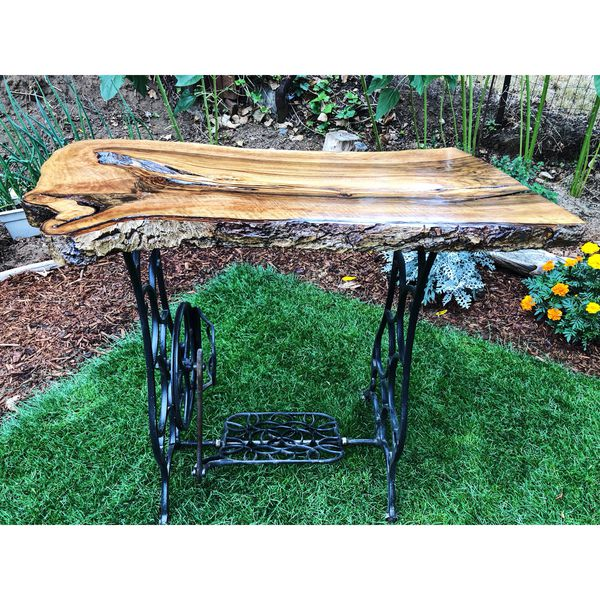 9da6fc65aa5f Beautiful live edge table with vintage sewing machine table bottom ...