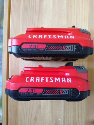 Photo Craftsman 20 Volt 2.0 AH Lithium ion batteries. $70 or BO.