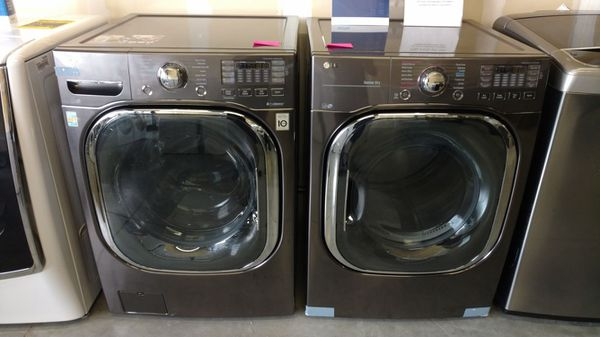 New Lg Black Stainless Washer And Dryer Set With Turbo