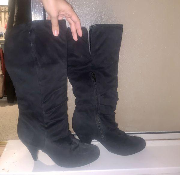 Merona /'Evie/' Tall Knee-High Dark Grey//Gray NEW Pull-on Riding Boots