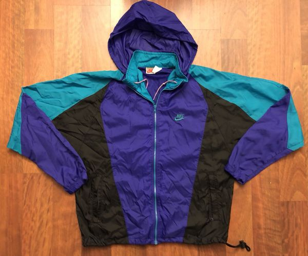 Vintage Nike Full Zip Windbreaker Jacket Purple Teal Black Grape Aqua 49f7ac5ef