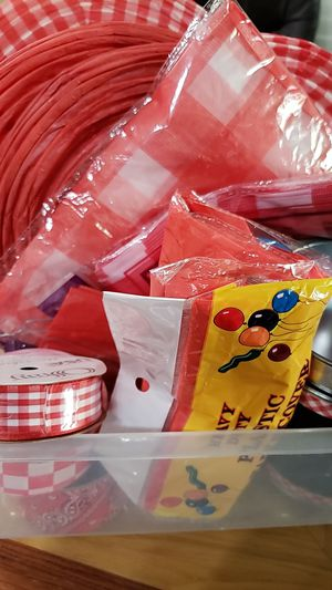 Free.... Bar b que picnic gingham party supplies for Sale in Laveen Village, AZ