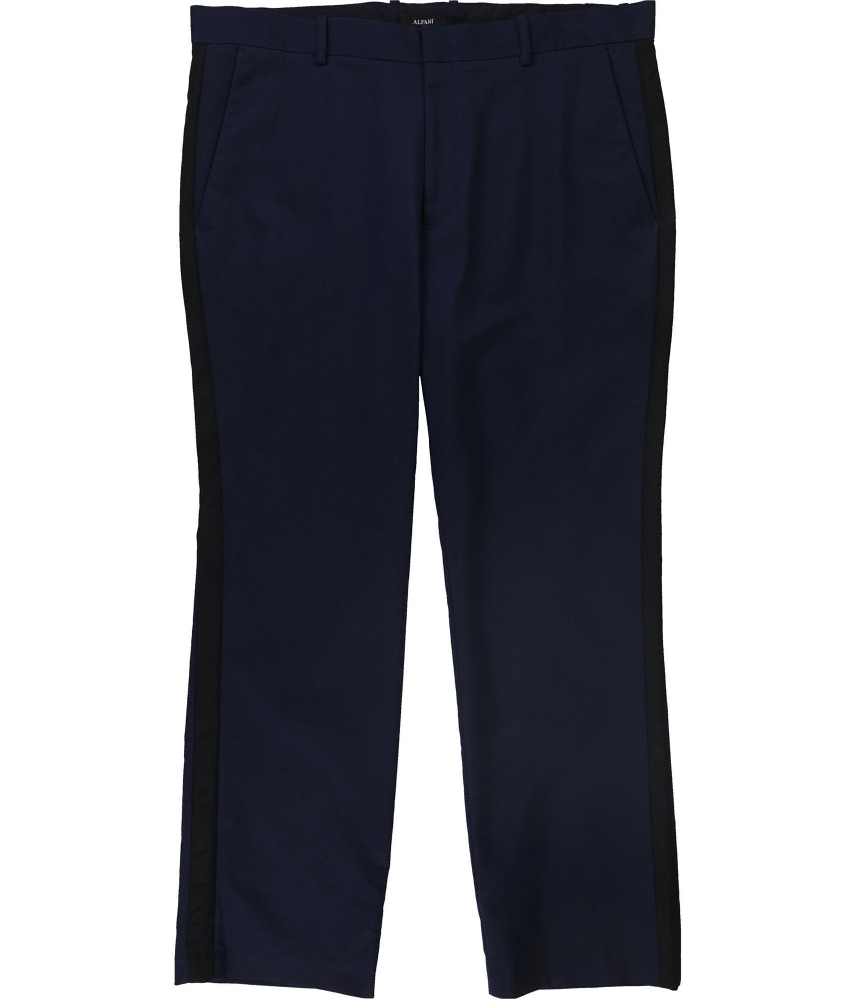 Alfani Mens Side Striped Dress Pants Slacks, Blue, 40W x 30L