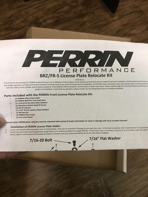 Perrin Performance License plate mount SCION FRS SUBARU BRZ (Auto ...