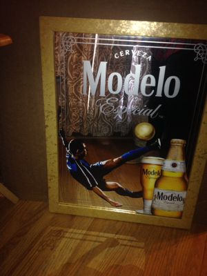 Modelo Especial Beer Cerveza Mirror Soccer Playet Mexico Man Cave pub for Sale in Derwood, MD