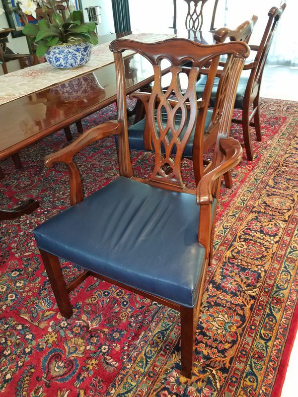 Cherry wood dining room table with 10 leather chairs for Sale in ...