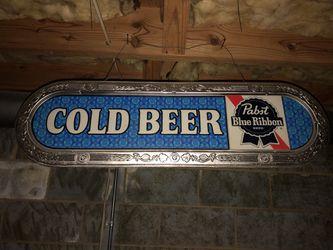 "1970's Pabst Blue Ribbon ""Cold Beer"" Lighted sign bar Thumbnail"