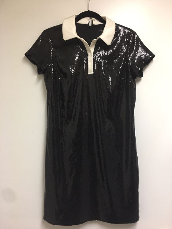 9b6549ea Black sequin dress with white satin collar size 8 petite by Ann Taylor