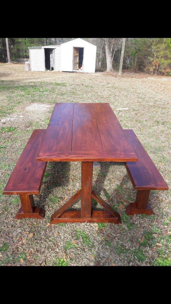 Solid Wood Farm Table W Two Benches For Sale In Leland