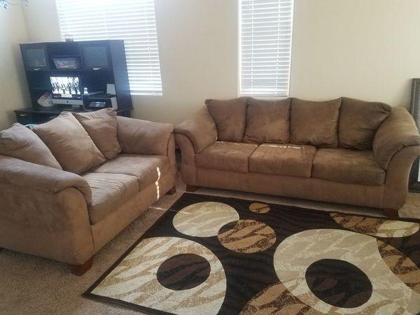 Tan Microfiber Sofa And Loveseat