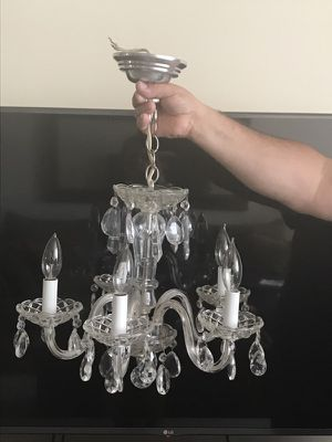 Vintage chic crystal chandelier 16 inches round 16 inches to chain. Excellent condition! for Sale in Lincolnia, VA