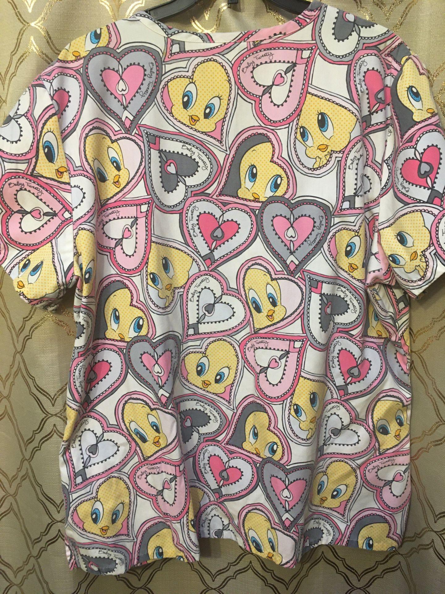 Women's scrub top looney tunes tweety bird hearts Large