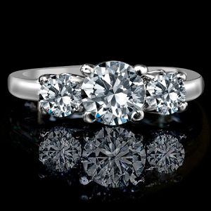 1.50 ct tw (1 ct center), three stone ring diamond simulant-diamond veneer® set in sterling silver platinum electroplated Simulated diamond for Sale in San Francisco, CA