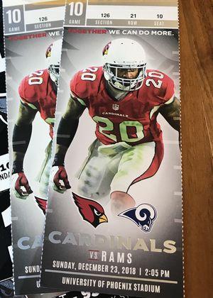 2 Lower Field Level Tickets Cardinals vs Rams 12/23 for Sale in Scottsdale, AZ