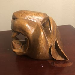 Wooden Carved Cougar Head Thumbnail