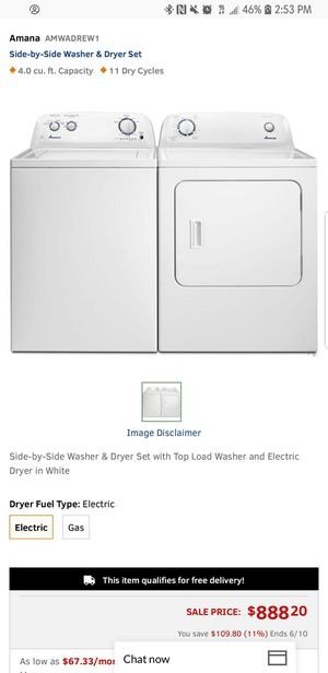 2018 Amana Top Load Washer and Dryer Set - $349 for Sale in Atlanta, GA