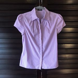 Photo Gianni Versace Women's Vintage Collared Shirt - Purple and White XS