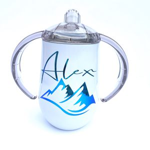 Photo Personalized stainless steel double wall insulated spill proof sippy cup