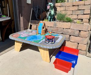 Photo Pick up today kid craft waterfall junction toy train activity table $35, NO train pieces, Table is big bring SUV