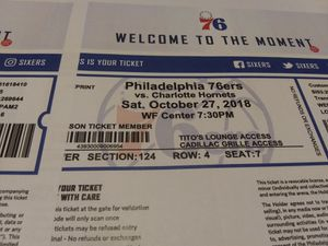 2 Sixers ticket for 10-27-18 section 124 row 4 seats 6 an 7 there on line for 254.00 im letting the go for 200.00 for Sale in Philadelphia, PA